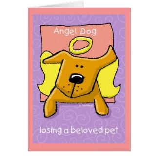 Tarjeta Perro del ángel, perdiendo a un mascota querido