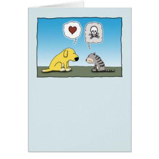Tarjeta Perro divertido y amor y odio del gato