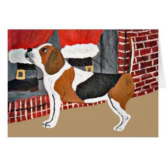 Tarjeta Perro guardián del beagle el Nochebuena
