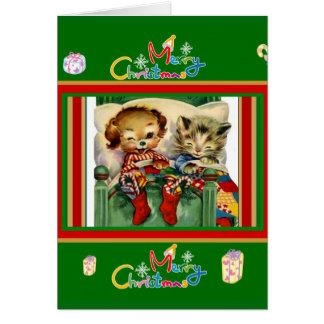 Tarjeta Perro lindo de los gatitos de las Felices Navidad