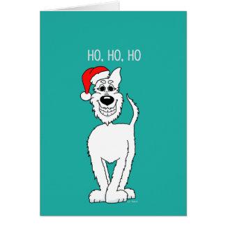 Tarjeta Perro pastor blanco Santa