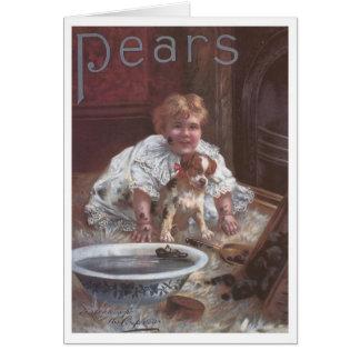 Tarjeta Perro que se lava del chica del jabón de las peras