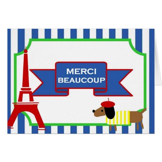 Tarjeta Perro y torre Eiffel del arte de Oui Oui París