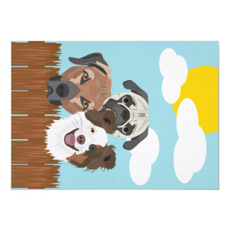 Tarjeta Perros afortunados del ilustracion en una cerca de