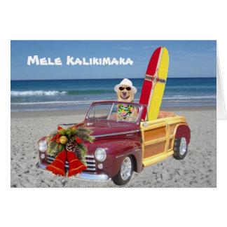 Tarjeta Persona que practica surf/navidad hawaiano