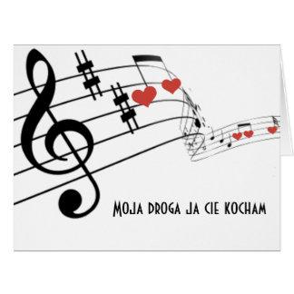 Tarjeta Personal musical con las notas y los corazones