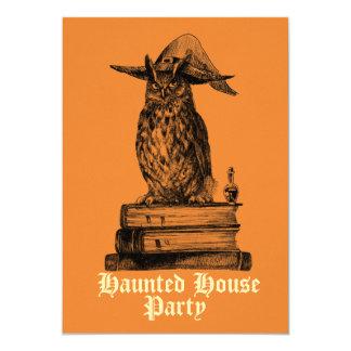 Tarjeta Personalizable del búho de la bruja del fiesta de