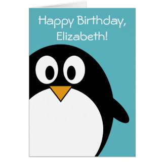 Tarjeta Personalizable del pingüino del cumpleaños