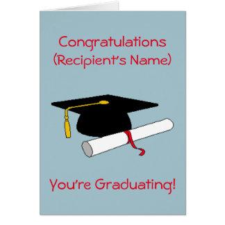 Tarjeta personalizada de la graduación