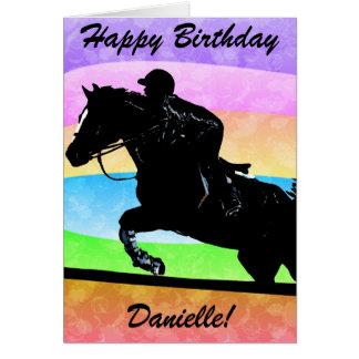 Tarjeta personalizada del caballo del feliz cumple