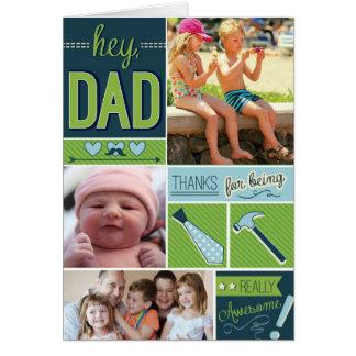 Tarjeta personalizada del día de padres con las fo