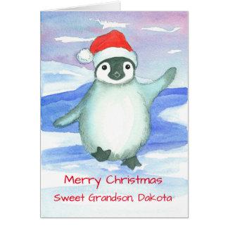Tarjeta Personalizado del pingüino del bebé del nieto de