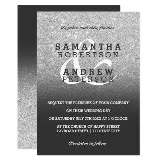Tarjeta Personalizado gris del boda del ombre del falso