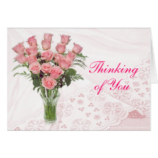 Tarjeta Personalizar de los rosas y del cordón para
