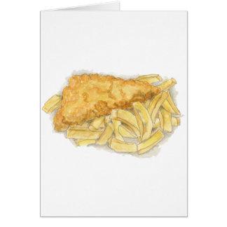 Tarjeta pescado frito con patatas fritas