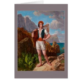 Tarjeta Pescador en la costa de Amalfi de Ebert