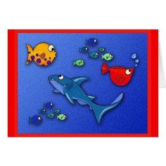 Tarjeta Pescados raros con el tiburón