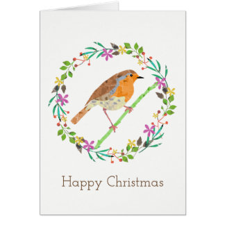 Tarjeta Petirrojo el pájaro del navidad