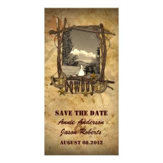 Tarjeta Photocard del boda del vaquero del país del