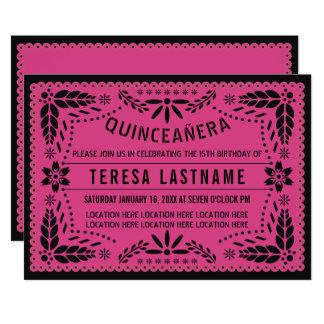 Tarjeta Picado negro rosado del papel de Quinceañera