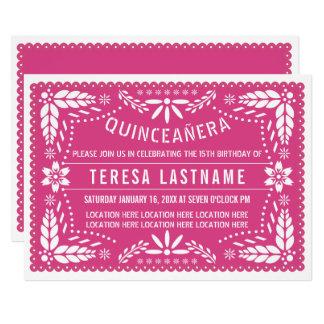 Tarjeta Picado rosado del papel de Quinceañera