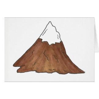 Tarjeta Pico de montaña coronado de nieve que camina