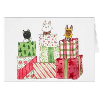 Tarjeta Pilas de regalos del navidad