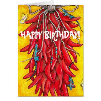 Tarjeta Pimienta roja Ristra de Chile del chile de la