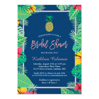 Tarjeta Piña nupcial tropical del oro de los azules