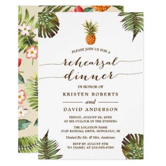 Tarjeta Piña tropical de las hojas de la cena el | del