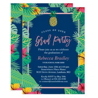 Tarjeta Piña tropical del oro de los azules marinos de la