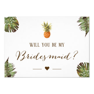Tarjeta Piña tropical usted será mi dama de honor
