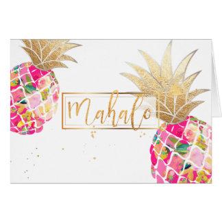 Tarjeta Piñas/rosa/Mahalo de la hawaiana de PixDezines