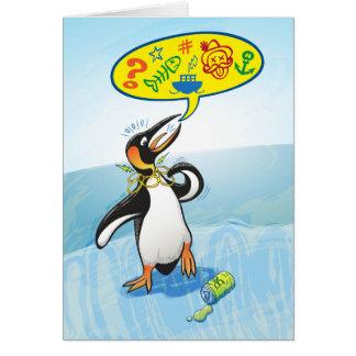 Tarjeta Pingüino de rey desesperado que dice malas