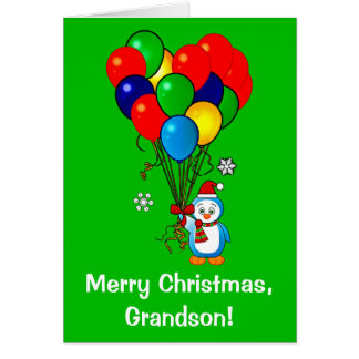 Tarjeta Pingüino del nieto de las Felices Navidad con los