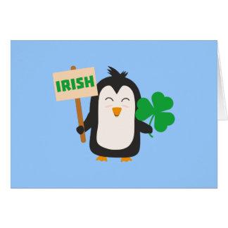 Tarjeta Pingüino irlandés con el trébol Zjib4