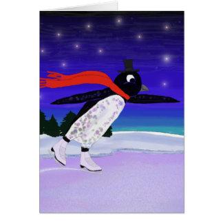 Tarjeta Pingüino patinador