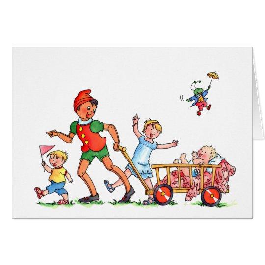 """Tarjeta """"Pinocchio del bebé con hermano mayor y la"""