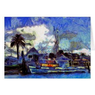 Tarjeta pintada de la navegación de la bella arte