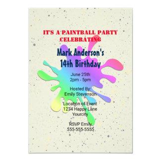 Tarjeta Pinte el cumpleaños de Paintball de la salpicadura