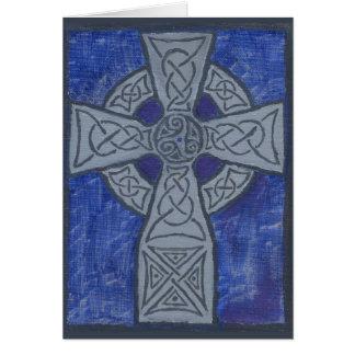 Tarjeta Pintura al óleo de la cruz céltica