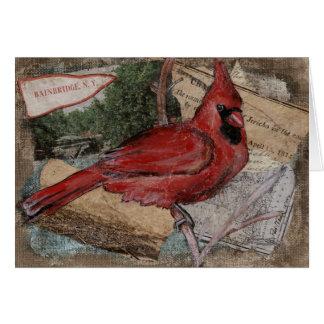 Tarjeta Pintura cardinal del pájaro