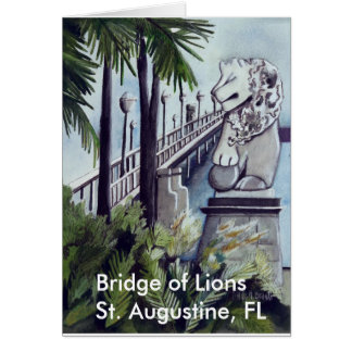 "Tarjeta Pintura de Linda M. Brandt, ""puente de leones """