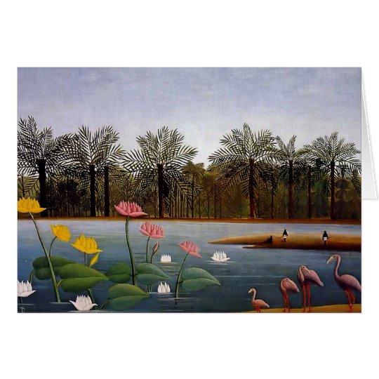 "Tarjeta Pintura de Naïve de Henri Rousseau ""los flamencos"