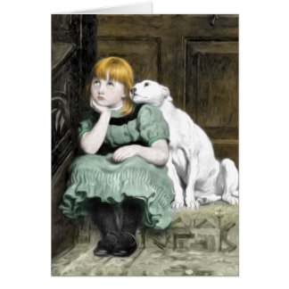 Tarjeta Pintura del Victorian del chica del perro que