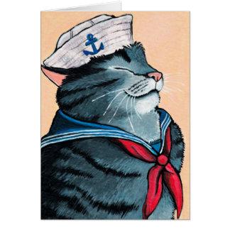 Tarjeta Pintura náutica del gato de Tabby del gato del