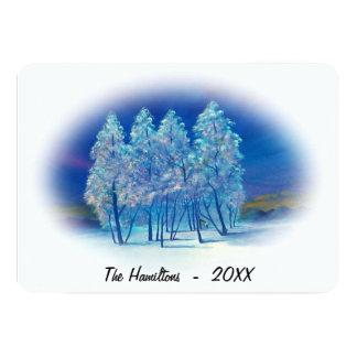 Tarjeta Pintura Spruce azul brumosa de la aurora boreal de