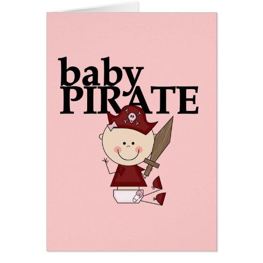 Tarjeta Pirata de la niña con las camisetas y los regalos
