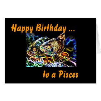 Tarjeta Piscis - los pescados gemelos del zodiaco por