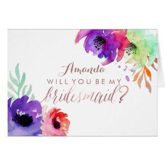 Tarjeta PixDezines Watercolor/Be floral mi dama de honor